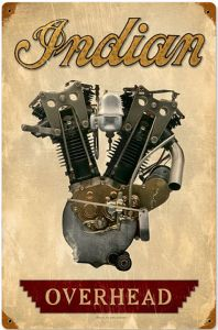 Indian Motorcycles Overhead VTwin Engine rusted steel sign  (pst 1812)